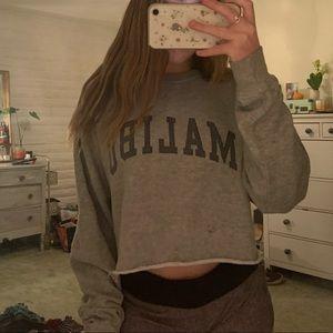 Brandy Melville grey cropped Malibu sweatshirt